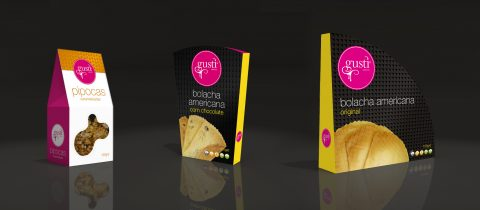 Pop Corn and American Cookies Gusti Sabores Packaging
